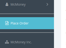 Place Order in sidebar